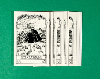 "Ex sticker Libris, Bookplate self-adhesive, ""Don Quixote"""