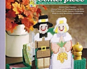 Pilgrim Centerpiece, Thanksgiving Plastic Canvas Pattern The Needlecraft Shop Pilgrim and Wife