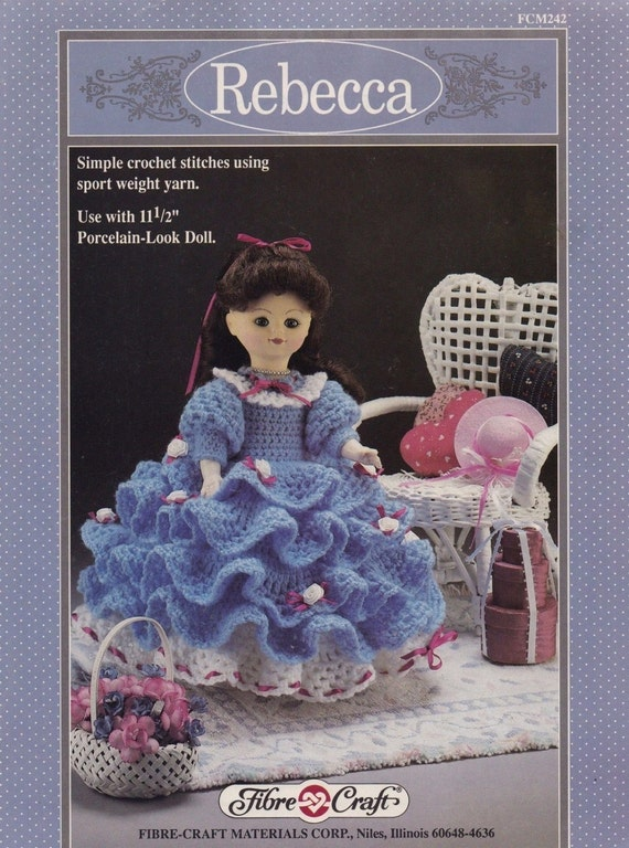 Rebecca fibre craft crochet doll clothes pattern booklet for Fibre craft 18 inch doll