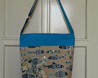 Blue fish shoulder bag, cross body bag