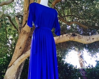 Retro Meets Regency Women's cobalt blue dress by Hal Ferman