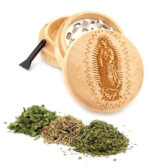 Guadalupe Engraved Premium Natural Wooden Grinder Item # PW050916-144