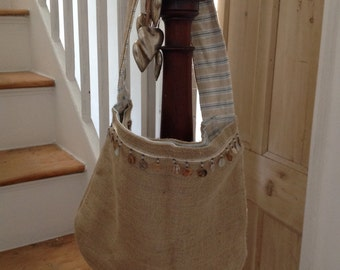 Hessian shoulder tote bag