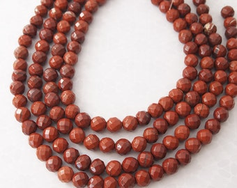 Strand Red Jasper Faceted Round Gemstone Beads Size 10mm Quantity 15 inch strand - 40 beads