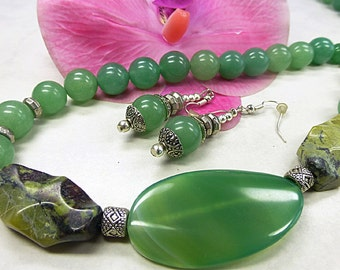 Green Aventurine set with yellow turquoise