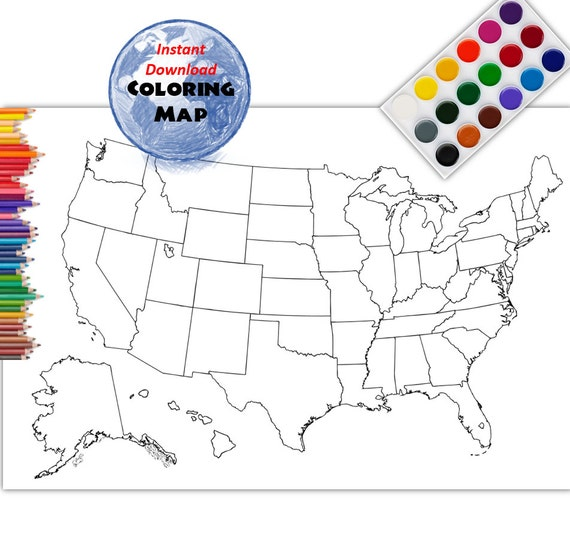 Coloring Map USA Coloring Page USA Outline Plain No Labels - Usa blank map