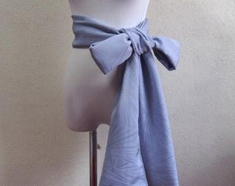 Blue silk obi belt/soft /wide/made of vintage kimono fabric/belt for kimono robe