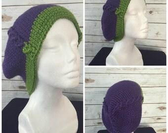 Grape Cabled Slouchy Beanie
