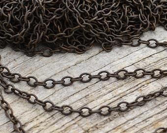 Rustic Chain, Medium Links, Distressed Chain, Brass Chain, Antiqued Brass Chain, Weathered Chain, 4x5mm, Brown Chain BR-CHAIN-03