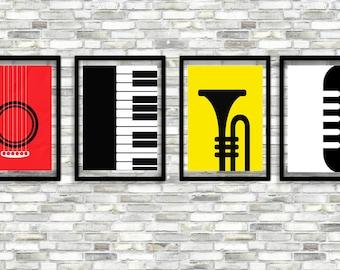 SALE!!! Musical Instruments Art Print,Minimalist Art Poster,Musical Print,Instant Download,Piano,Guitar,Mike,Saxophone,Wall art,Printable