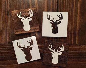 Set of 4 Deer Head Coasters / Wood Coaster / Home Decor / Drink Coaster / Country Decor / Wood Decor / Hunting / Hunting Decor
