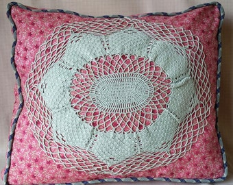 Strawberry Fields Cushion-boxed-n-piped, vintage sage-colored crochet, contrast piping, strawberry colored