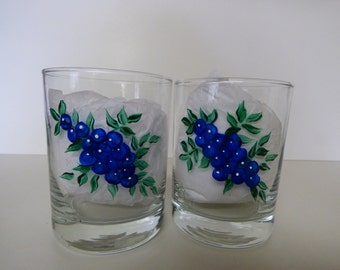 Hand Painted Blueberry Tumbler Glass-1, Beverage Glass, Everyday Glass