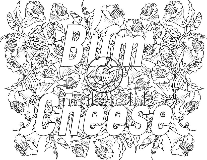 bum coloring pages - bum cheese swear coloring page sweary swear word by