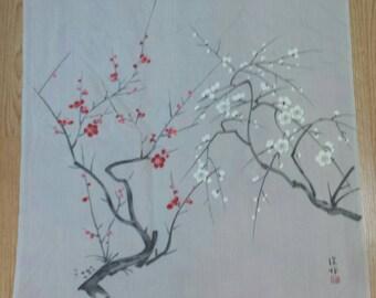 Japanese Cherry Blossom 100% Silk Scarf 28x28