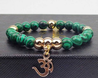 Gold plated OM Bracelet with 8mm Natural Malachite Stone meditation beads - Perfect Yoga jewellery