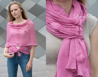 LINEN SHAWL- WRAPS (Poncho)  Knitted  and Decorated with Dots. Handmade Natural Linen Color  Pink