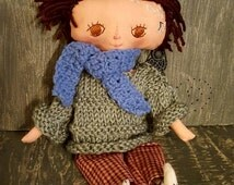Boy Cloth Doll OOAK Handmade Brown Haired Rag Doll 13 Inch