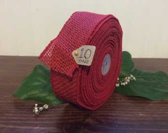 """2"""" x 10 yrd Wired Crimson Burlap Ribbon - Colored Burlap Ribbon - Red Burlap Ribbon - 10 yrd - HI559-12"""