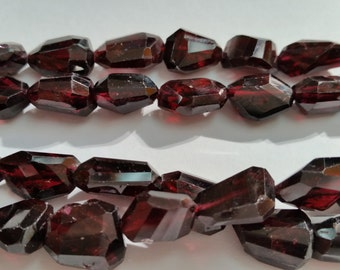 Garnet Faceted Nugget Straight Cutting , 12x14MM Approx and Length 16""