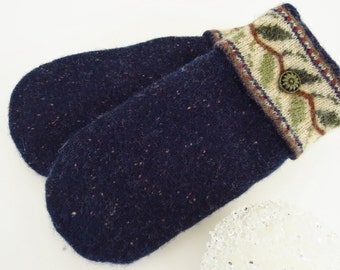 Upcycled felted wool sweater mittens polartec fleece lined ultrasuede palms navy/green/brown/tan ladies Large