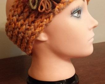 Orange and Tan headband/earwarmer
