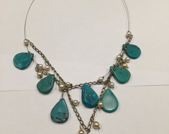 Turquoise and pearl chain and wire modern whimsical necklace