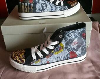 Guns and roses Converse Style CHUCKS Hi top sneakersTaylor Punk Goth Rock Bands Axl Rose Slash Custom Made