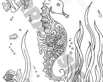 seahorse and fish adult coloring page. x 2 pages