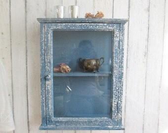 Shabby glass display cabinet