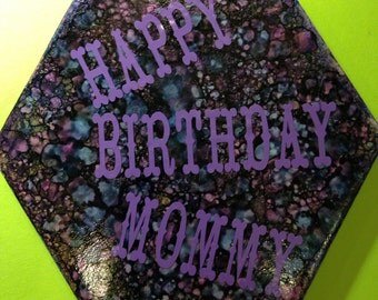Happy birthday ceramic trivet or ornament