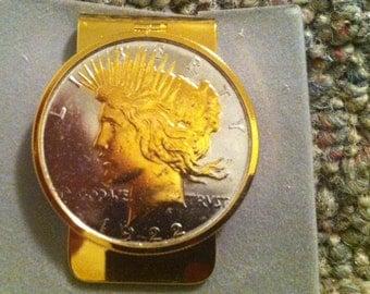 1922 Silver Peace dollar money clip
