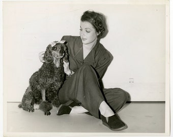 Vintage Original 1940 Classic Golden Age of Hollywood Publicity Photograph Ann Sheridan and Poodle M. Marigold Warner Bros. It All Came True