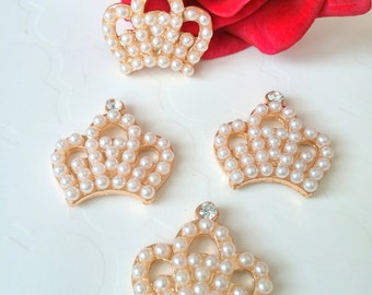 4 Gold Metal Rhinestone Pearl Crowns, 23mm*23mm Crowns, Craft Supply Crowns, Headband Supply