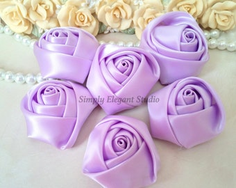 "1.8"" Lavender Satin Roses, 3 Vintage Rolled Fabric Rosettes, Baby Headband Flowers, Wedding Flowers, Flower Supply"