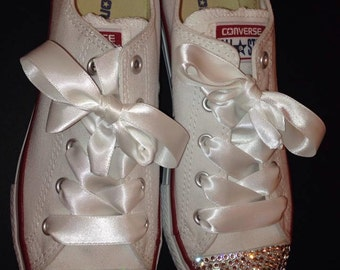 Infant Low Converse with Swarovski Crystals & Silk Ribbon Laces