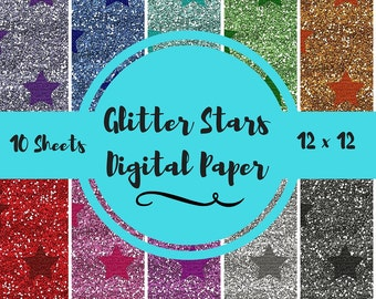 Glitter Stars Digital Papers-Glitter Stars Digital Scrapbooking Paper-Star Digital Papers-Glitter Scrapbook Paper-Star Scrapbook Paper