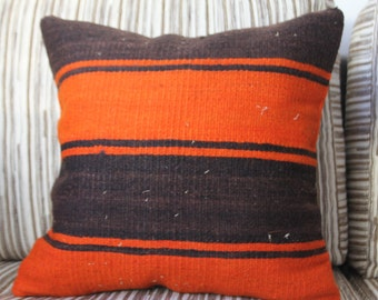 "Orange and Black Striped Vintage Kilim Pillow 16"" x 16"" Cushion Cover Handwoven Kilim Rug Decorative Pillow Cover Handmade Turkish Pillows"