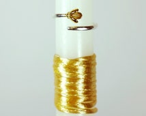 """18"""" Easter Greek Candle Lambada Decorated with Golden Ribbons and 925 Sterling Silver Crocus Flower Resizable Ring"""