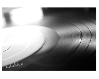 Black and White Vinyl Record Art Print, Music Lovers Fine Art Macro Photography, Home Wall Decor Picture Photograph, Art Photo