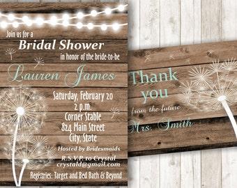 Rustic Bridal Shower Invitation Printable Bridal Shower Invite Dandelion Shower Invitation Dandelion Bridal Shower Invite BSRU01
