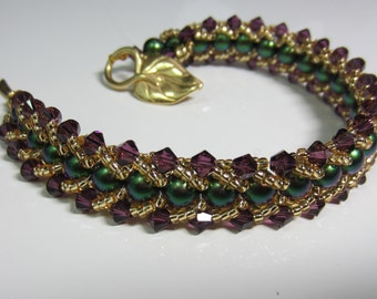 Beaded Swarovski Crystal & Glass Bracelet