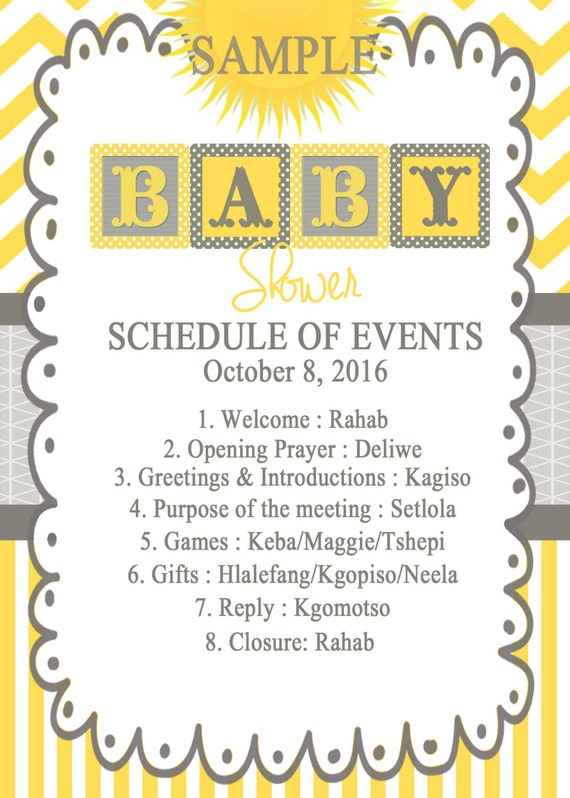 Marvelous Schedule Of Event For Baby Shower