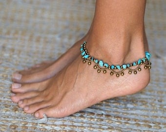 Hippie Jewelry // Hippie Anklet // Turquoise Anklet // Jingle Bells Anklet // Indian Anklet // Oriental Anklets