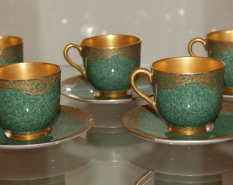 Rare Set 5 x Royal Worcester Emerald Green Gilded World War One Cabinet Cups & Saucers