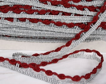 4 m Ribbon 14mm, polyester, Burgundy and gray, (1232)
