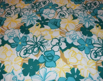 Yellow, Green Flower Blanket With Yellow Back