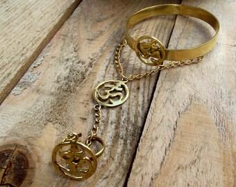 OM Slave bracelet, OM bracelet ring combo, slave stone bracelet, brass slave bracelet, bracelet ring chain, tribal brass slave bracelet.