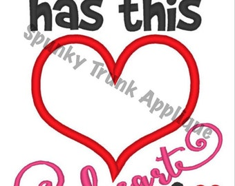 Mommy has this Heart Thump Thump 5x7 Embroidery Design Spunky Valentines