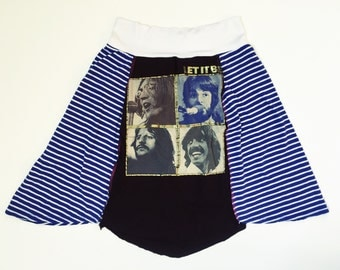Women's upcycled Beatles Let it be tshirt skirt A-line yoga waistband size small/medium one of a kind